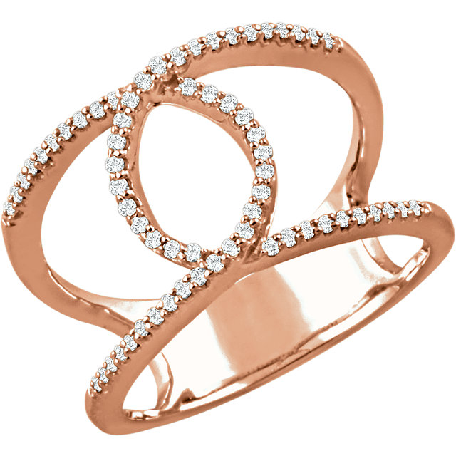 Buy Real 14 KT Rose Gold 0.20 Carat TW Diamond Interlocking Loop Ring
