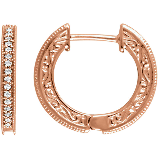 Appealing Jewelry in 14 Karat Rose Gold 0.20 Carat Total Weight Diamond Milgrain Hoop Earrings