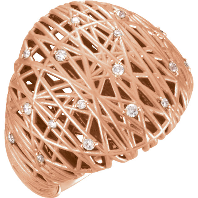Low Price on Quality 14 KT Rose Gold 0.20 Carat TW Diamond Nest Design Ring
