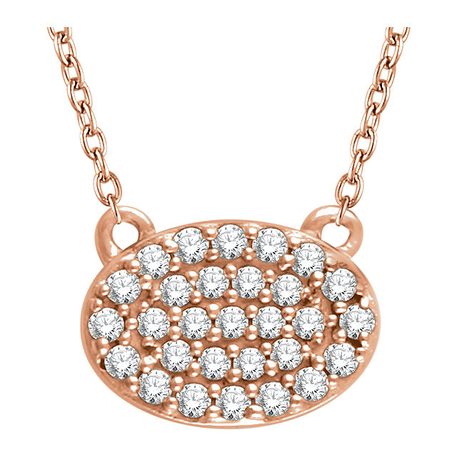 Perfect Gift Idea in 14 Karat Rose Gold 0.20 Carat Total Weight Diamond Oval Cluster 16-18