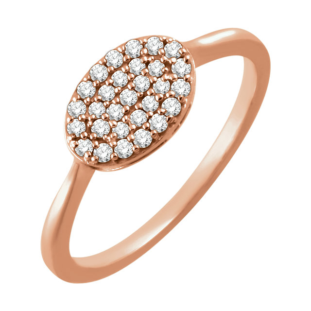 14 Karat Rose Gold 0.20 Carat Diamond Oval Cluster Ring