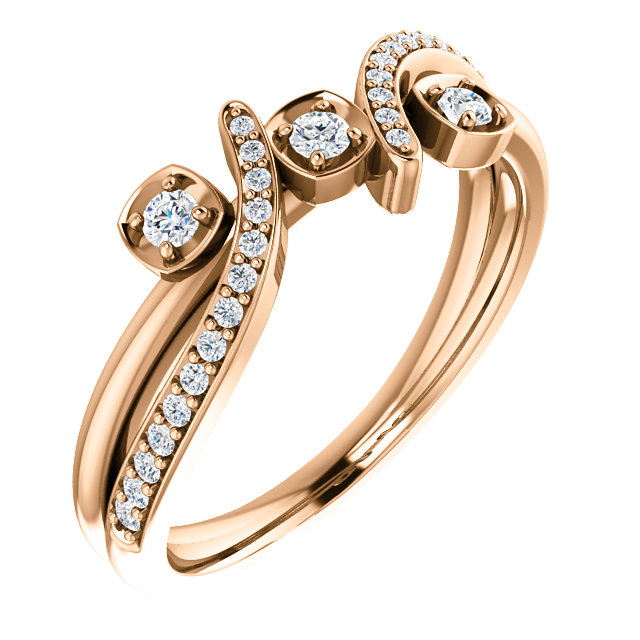 14 KT Rose Gold 0.20 Carat TW Diamond Ring