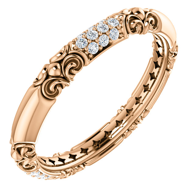 Jewelry Find 14 KT Rose Gold 0.20 Carat TW Diamond Sculptural-Inspired Ring