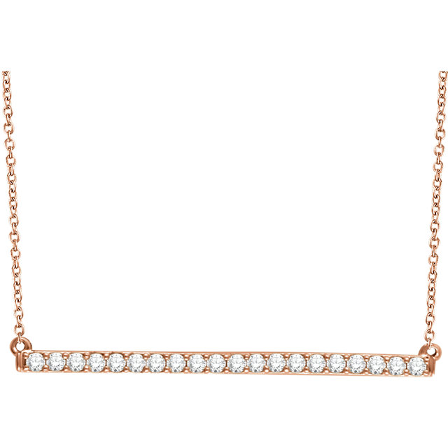 14 Karat Rose Gold 0.17 Carat Diamond Bar 16-18