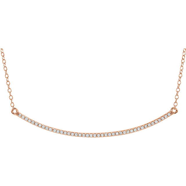 Perfect Gift Idea in 14 Karat Rose Gold 0.17 Carat Total Weight Diamond Bar 16-18