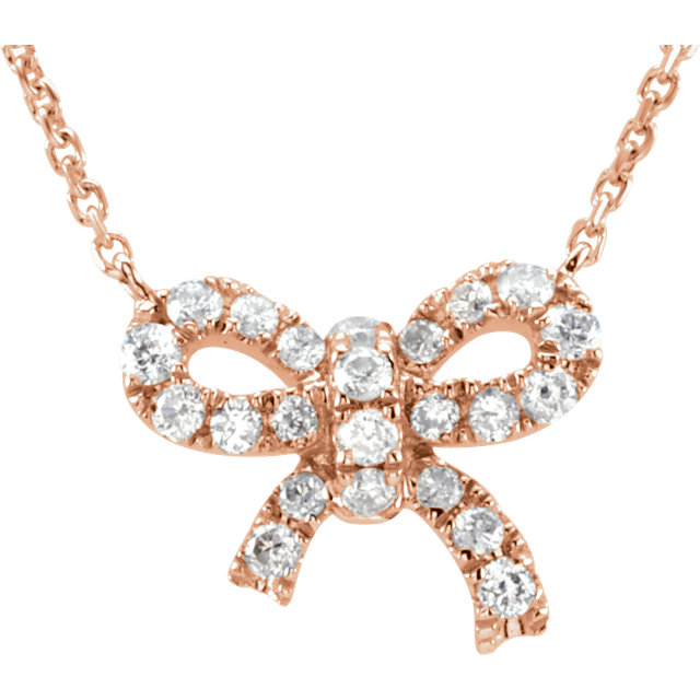Easy Gift in 14 Karat Rose Gold 0.17 Carat Total Weight Diamond Bow 18