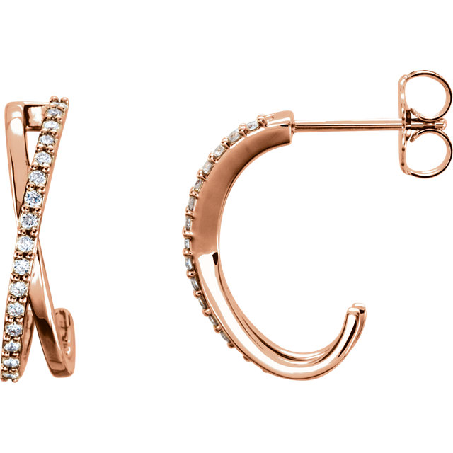 Wonderful 14 Karat Rose Gold 0.17 Carat Total Weight Diamond Criss-Cross J-Hoop Earrings