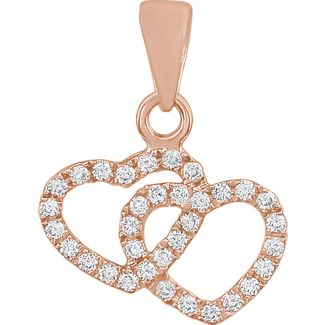 Appealing Jewelry in 14 Karat Rose Gold 0.17 Carat Total Weight Diamond Double Heart Pendant