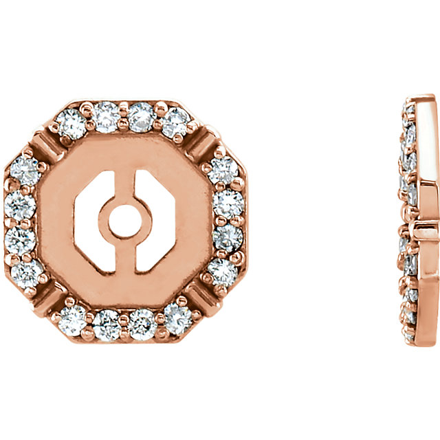 Surprise Her with  14 Karat Rose Gold 0.17 Carat Total Weight Diamond Earring Jackets