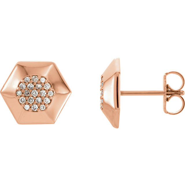 Gorgeous 14 Karat Rose Gold 0.17 Carat Total Weight Diamond Geometric Earrings with Backs