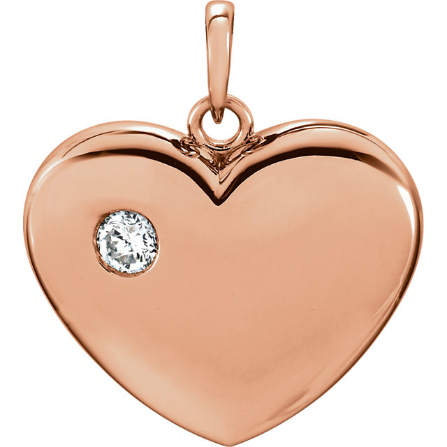 Nice 14 Karat Rose Gold 1/6 CT Round Genuine Diamond Heart Pendant