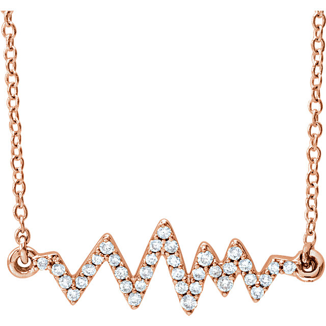 Shop 14 Karat Rose Gold 0.17 Carat Diamond Heartbeat 16-18