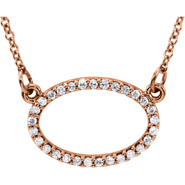 14 Karat Rose Gold 0.17 Carat Diamond Horizontal Oval 16