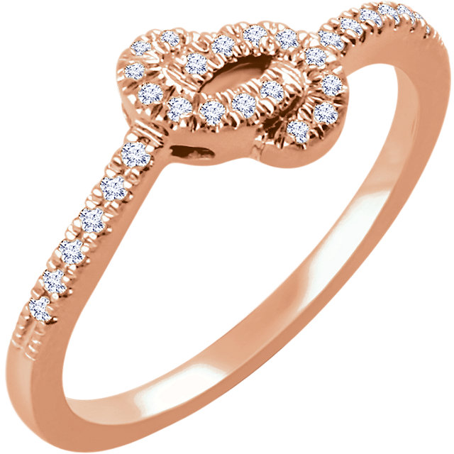 14 Karat Rose Gold 0.17 Carat Diamond Knot Ring