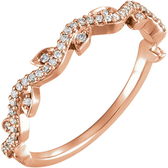 Appealing Jewelry in 14 Karat Rose Gold 0.17 Carat Total Weight Diamond Leaf Ring