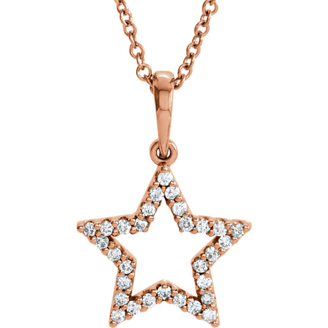 14 Karat Rose Gold 0.17 Carat Diamond Petite Star 16