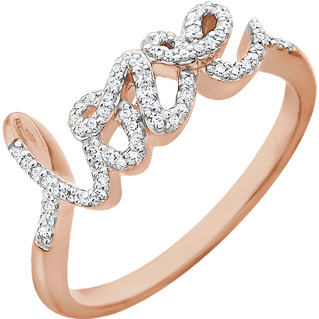 White Diamond Ring in 14 Karat Rose Gold 0.17 Carat Diamond Ring