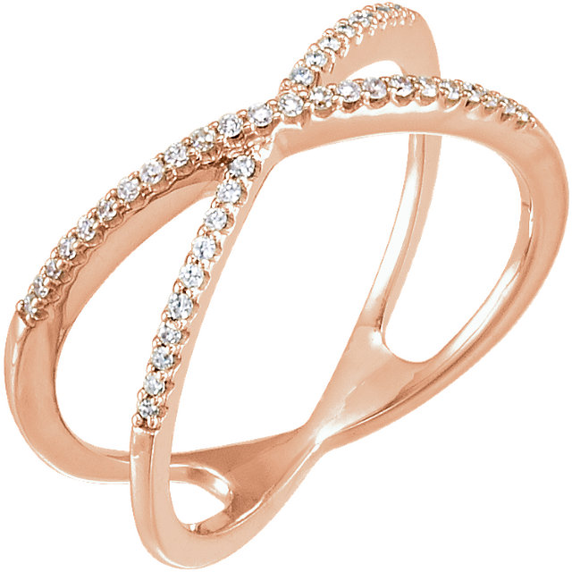 Buy Real 14 KT Rose Gold 0.17 Carat TW Diamond Criss-Cross Ring
