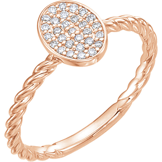Fine Quality 14 Karat Rose Gold 0.17 Carat Total Weight Diamond Rope Cluster Ring