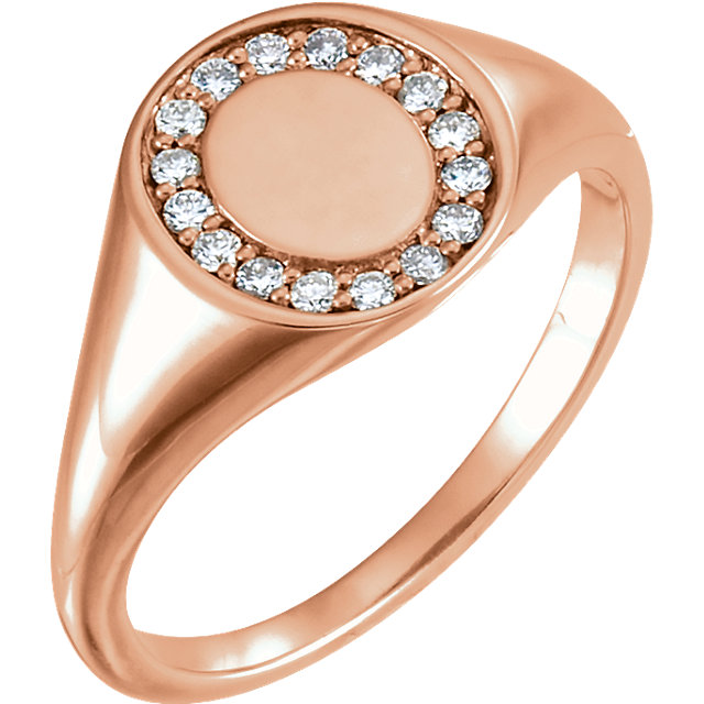 Great Deal in 14 Karat Rose Gold 0.17 Carat Total Weight Diamond Signet Ring
