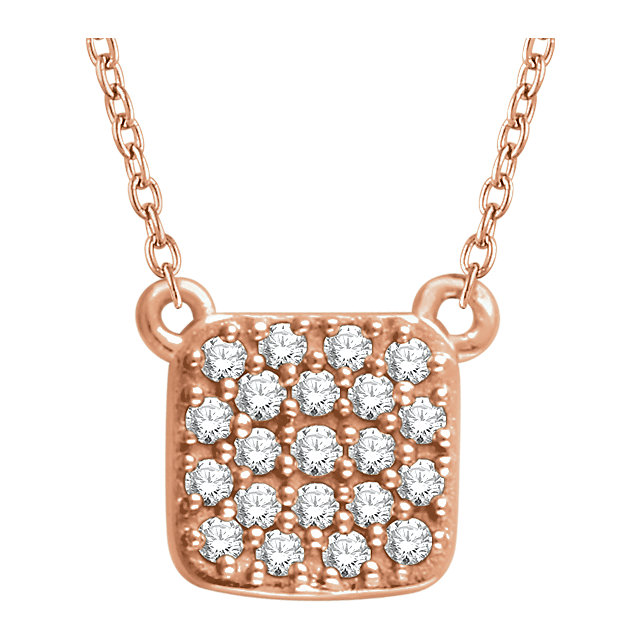 Contemporary 14 Karat Rose Gold 0.17 Carat Total Weight Diamond Square Cluster 16-18