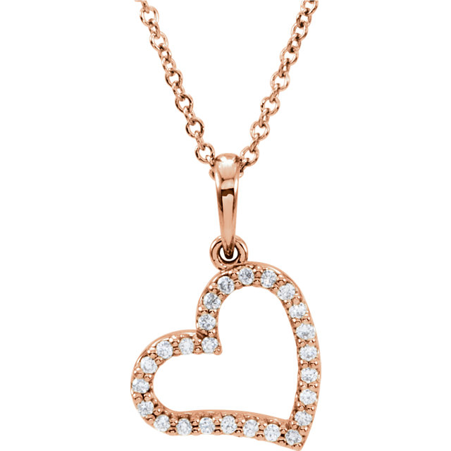 14 Karat Rose Gold 0.12 Carat Diamond 16
