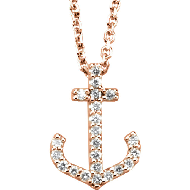 Beautiful 14 Karat Rose Gold 0.12 Carat Total Weight Diamond Anchor 16