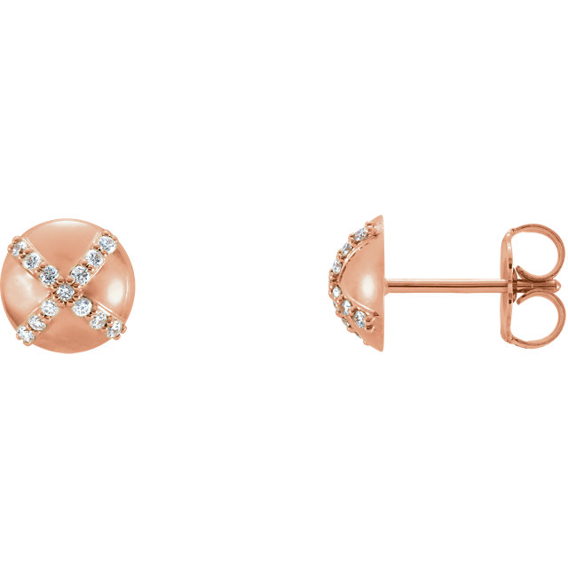 Gorgeous 14 Karat Rose Gold 0.12 Carat Total Weight Diamond Earrings