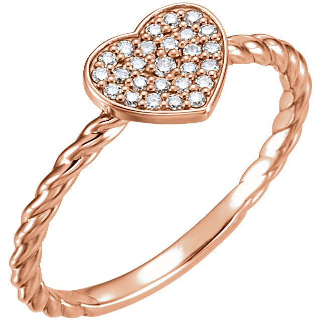Genuine 14 Karat Rose Gold 0.12 Carat Diamond Heart Rope Ring
