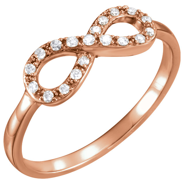 Genuine 14 KT Rose Gold 0.10 Carat TW Diamond Infinity-Inspired Ring