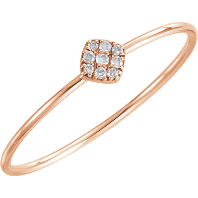 Genuine 14 KT Rose Gold 0.12 Carat TW Diamond Petite Square Ring