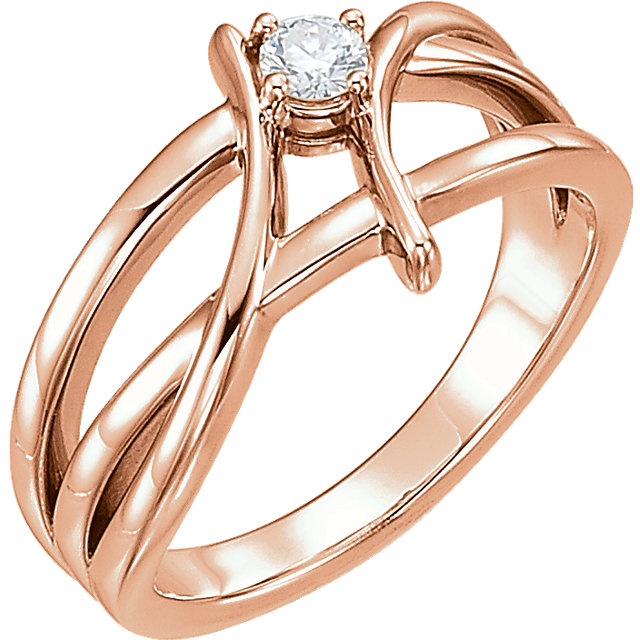 14 Karat Rose Gold 0.12 Carat Diamond Ring