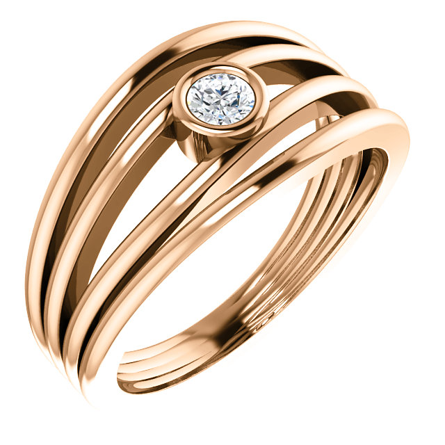 Eye Catchy 14 Karat Rose Gold 0.12 Carat Total Weight Diamond Ring