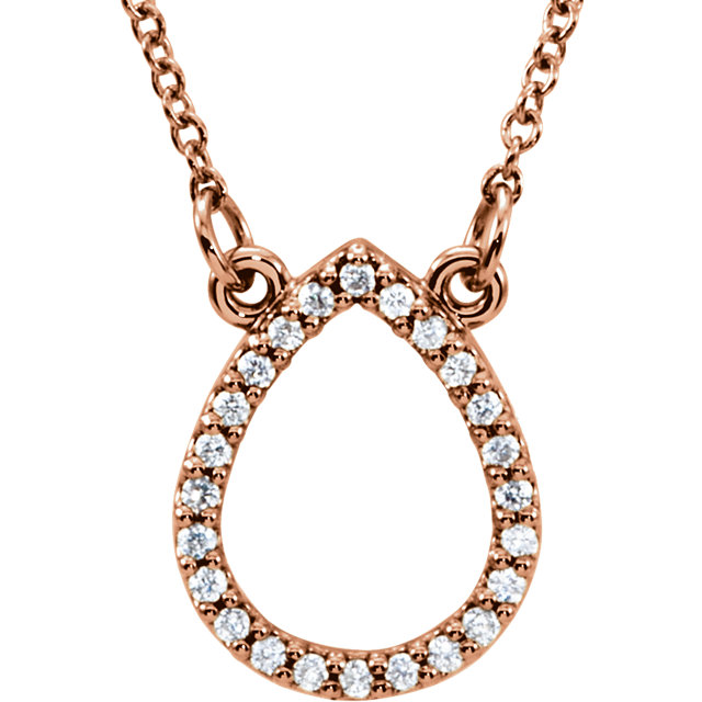 Fine Quality 14 Karat Rose Gold 0.12 Carat Total Weight Diamond Teardrop 16