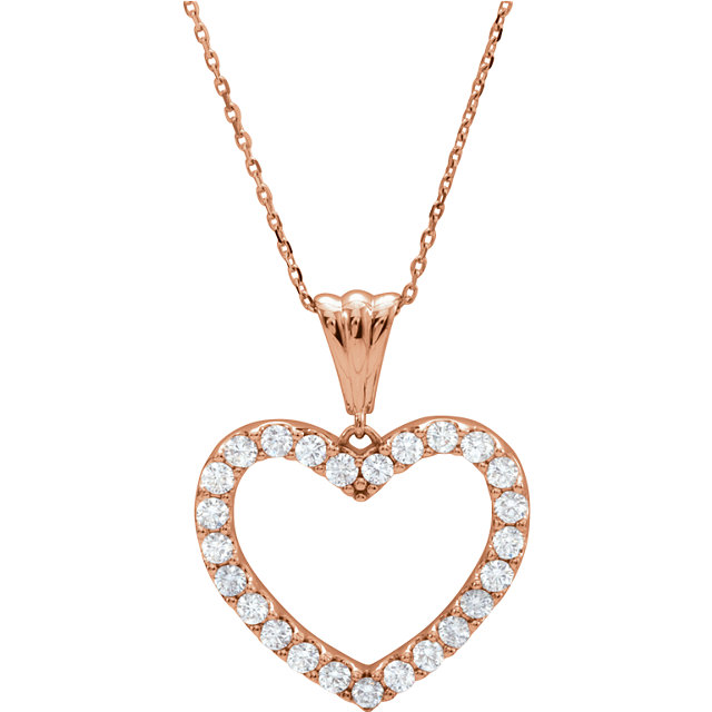 Beautiful 14 Karat Rose Gold 1 Carat Total Weight Diamond Heart 18