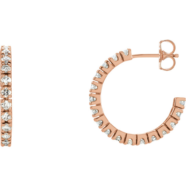 Gorgeous 14 Karat Rose Gold 1 Carat Total Weight Diamond Hoop Earrings
