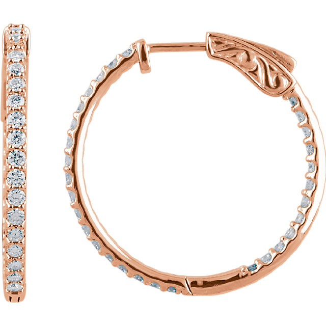 Stunning 14 Karat Rose Gold 1 Carat Total Weight Diamond Inside/Outside Hoop Earrings