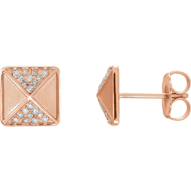 Quality 14 KT Rose Gold .10 Carat TW Diamond Accented Earrings