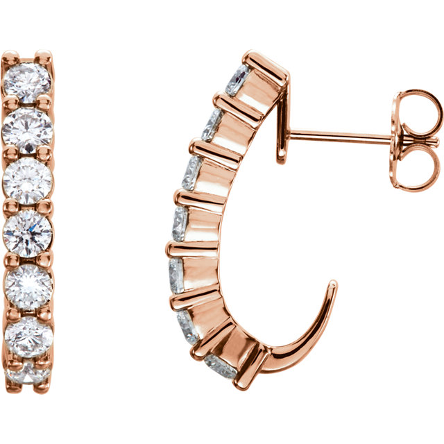 Great Buy in 14 Karat Rose Gold 0.67 Carat Total Weight Diamond J-Hoop Earrings