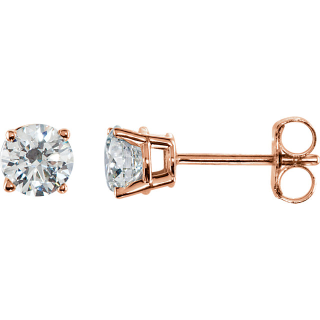 Surprise Her with  14 Karat Rose Gold 0.75 Carat Total Weight Diamond Earrings
