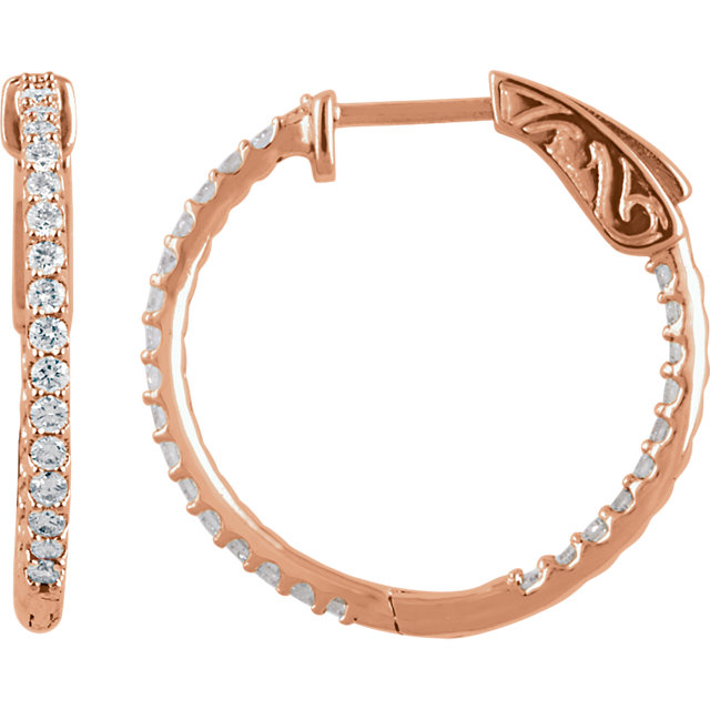 Beautiful 14 Karat Rose Gold 0.75 Carat Total Weight Diamond Inside/Outside Hoop Earrings