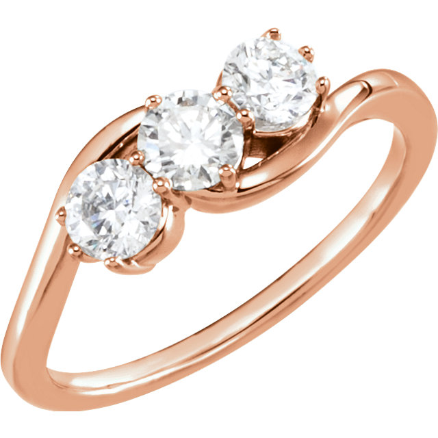 Shop 14 KT Rose Gold 0.75 Carat TW Diamond Three-Stone Ring