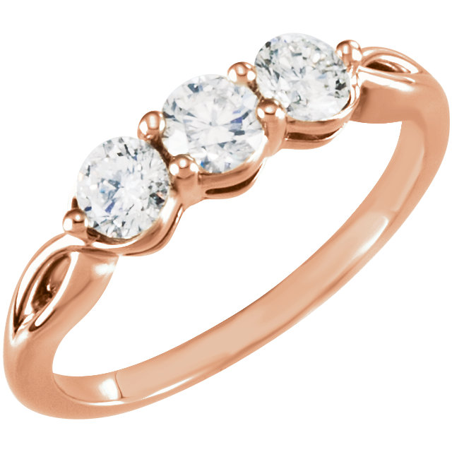 14 Karat Rose Gold 0.75 Carat Diamond Three-Stone Ring