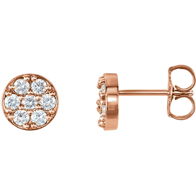Gorgeous 14 Karat Rose Gold 0.40 Carat Total Weight Diamond Cluster Earrings
