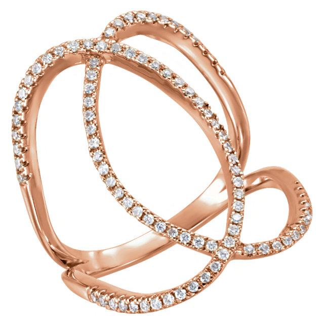 Shop Real 14 KT Rose Gold 0.40 Carat TW Diamond Freeform Ring