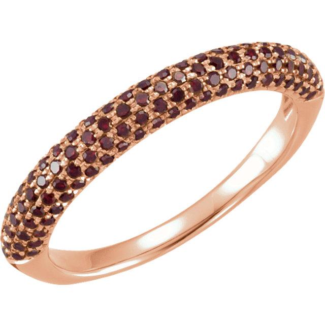 14 KT Rose Gold 3/8 Carat TW Diamond Pave Ring