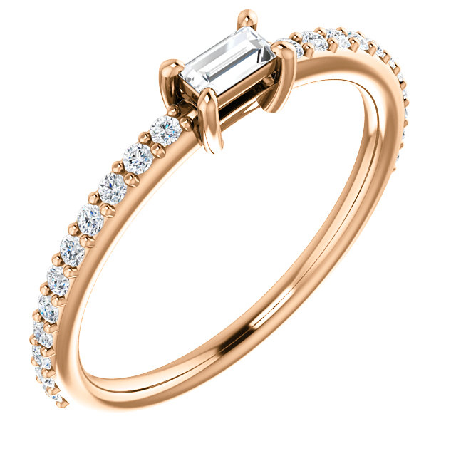 14 Karat Rose Gold 3/8 Carat Straight Baguette Genuine Diamond Ring