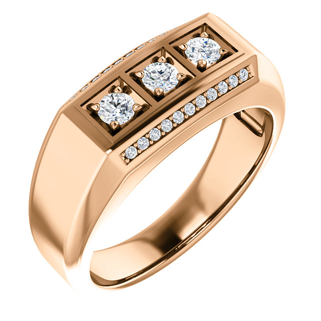14 Karat Rose Gold 0.50 Carat Diamond Men's Ring