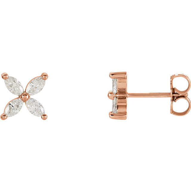 Great Deal in 14 Karat Rose Gold 0.60 Carat Total Weight Diamond Cluster Earrings