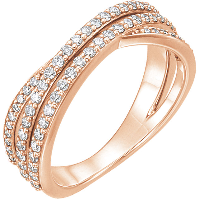 14 KT Rose Gold 0.50 Carat TW Diamond Criss Cross Ring
